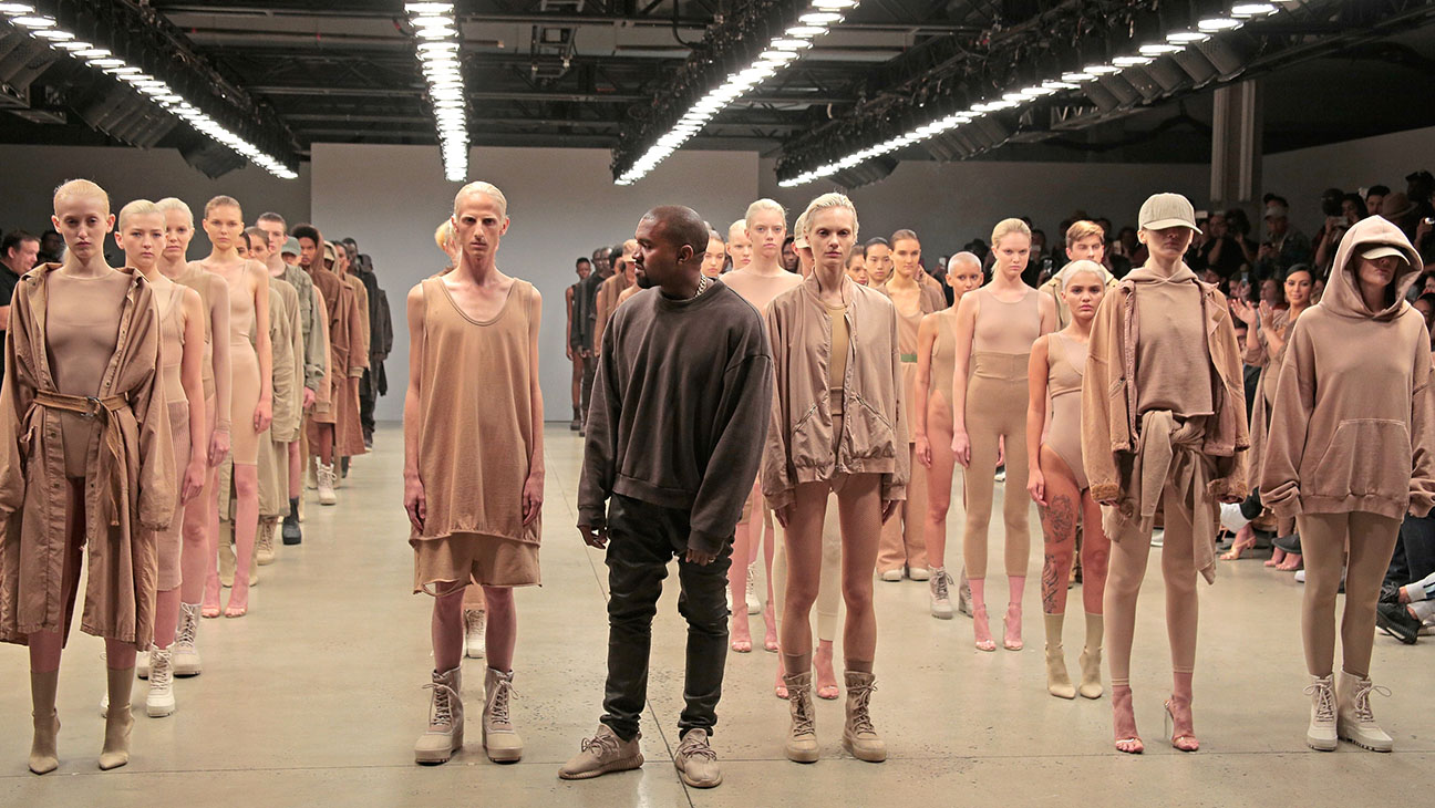 Kanye West poses during the finale of Yeezy Season 2 - H 2016