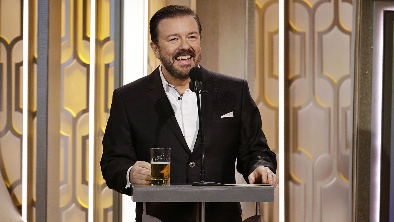 Ricky Gervais with drink - H 2016