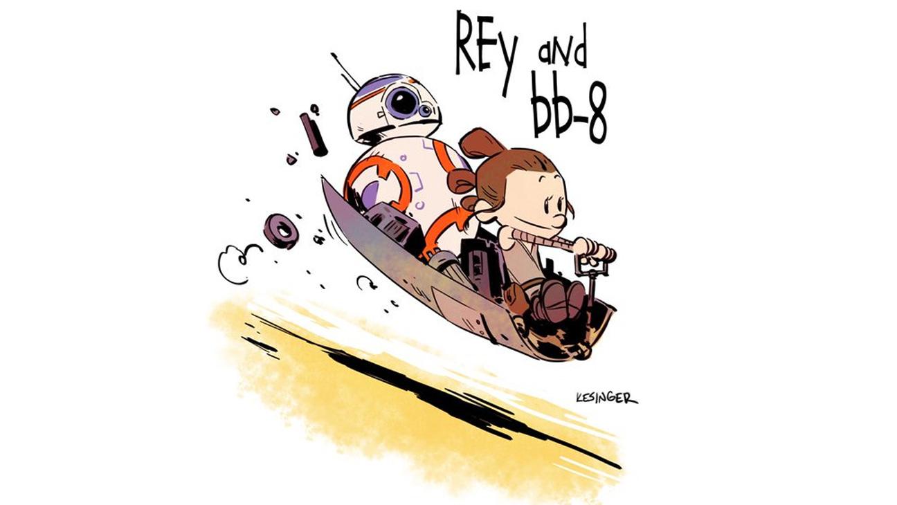 Rey/BB8 Cartoon - H 2016