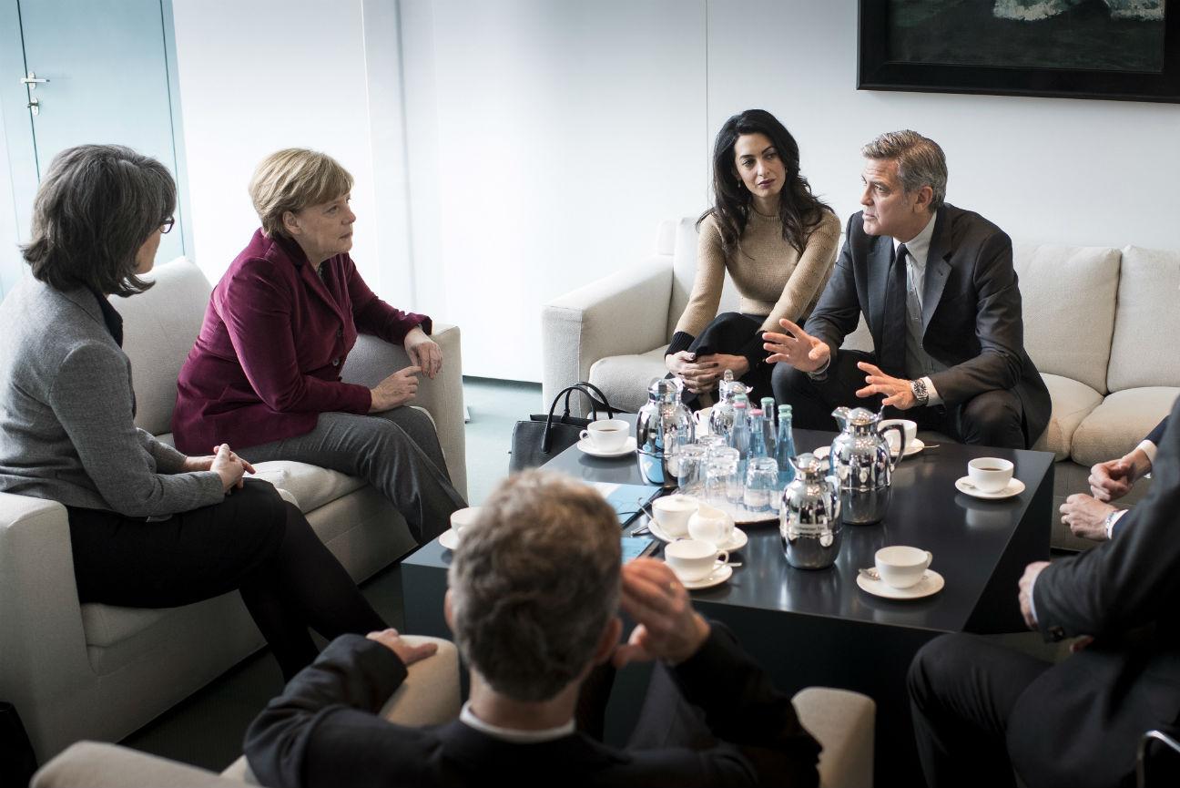 George Clooney, Amal Clooney Angela Merkel