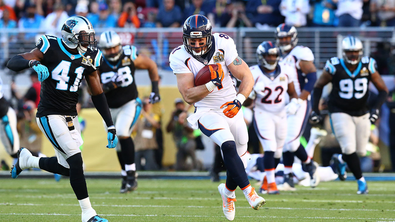 Owen Daniels of the Denver Broncos runs with the ball against Carolina Panthers -H 2016