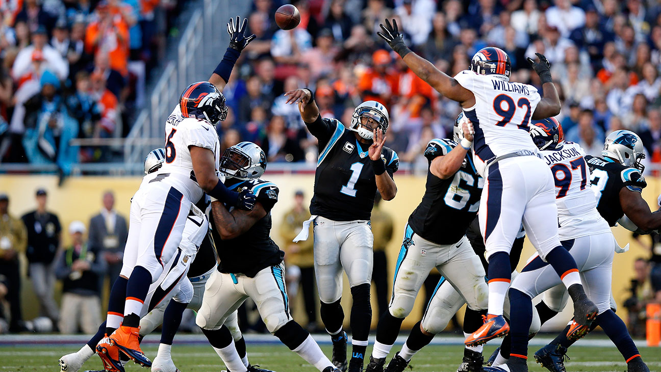 Cam Newton #1 of the Carolina Panthers throws a pass against the Denver Broncos - H 2016