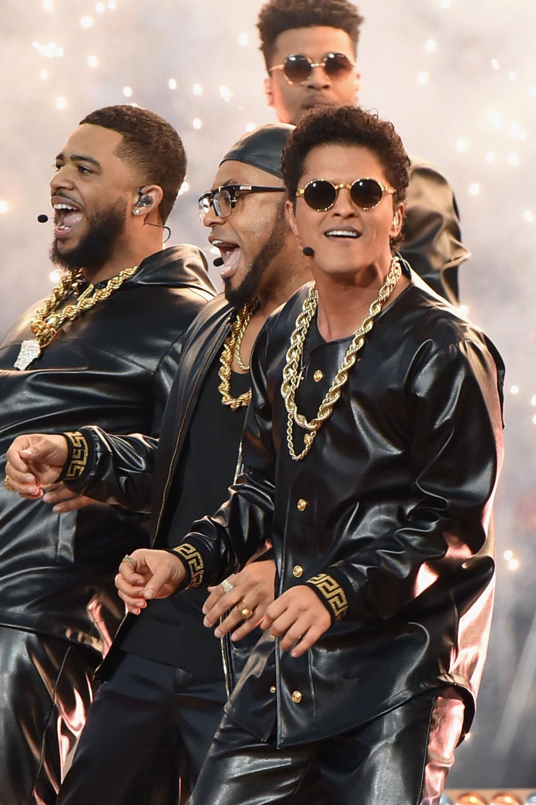 Bruno Mars  onstage during the Pepsi Super Bowl 50 Halftime Show at Levi's Stadium - P 2016