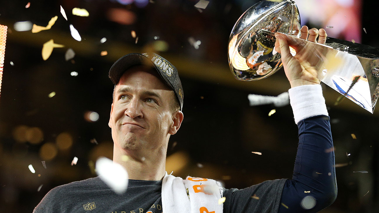 Peyton Manning celebrates with the Vince Lombardi Trophy after Super Bowl 50 - H 2016