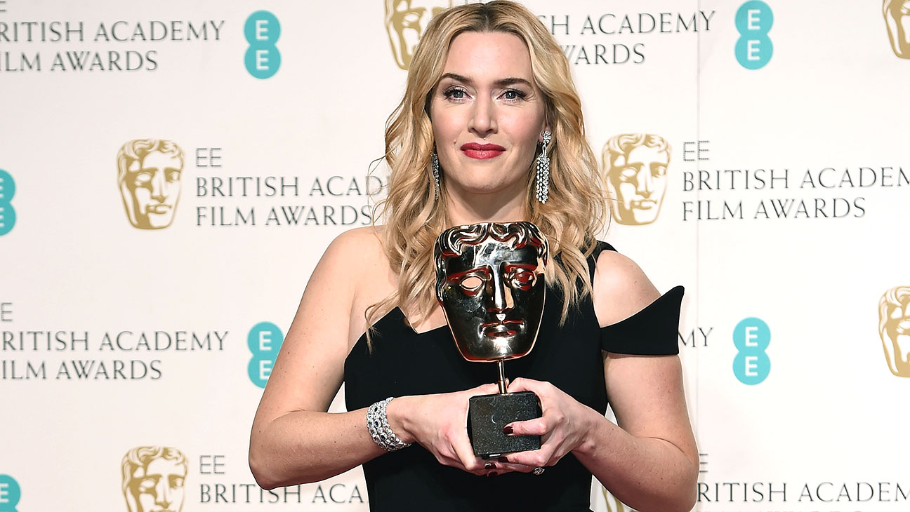 Kate Winslet with her bafta -H 2016
