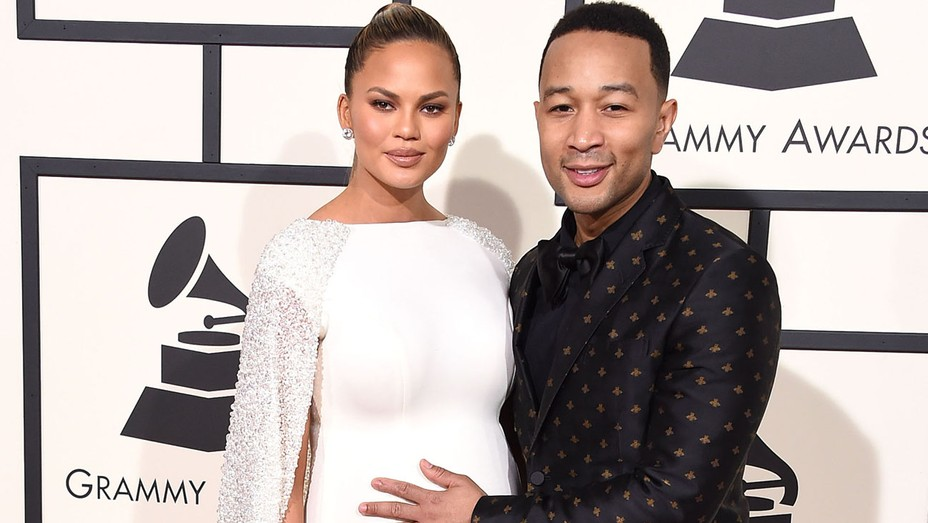 Chrissy Teigen and John Legend arrives at the The 58th GRAMMY Award - H 2016