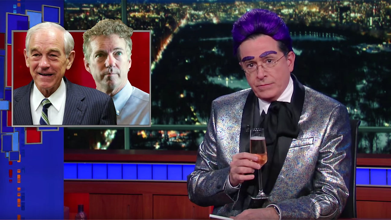 Stephen Colbert dressed up and mocking candidates Screen Shot- H 2016