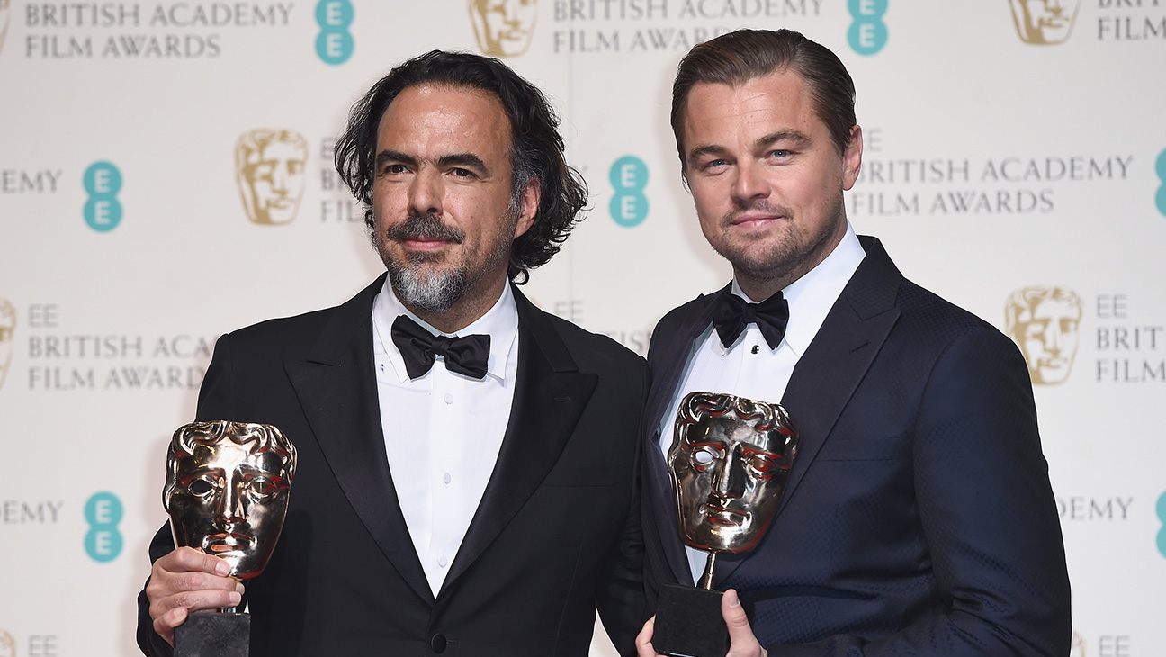 Alejandro G. Inarritu and Leonardo Dicaprio at BAFTAS - H 2016