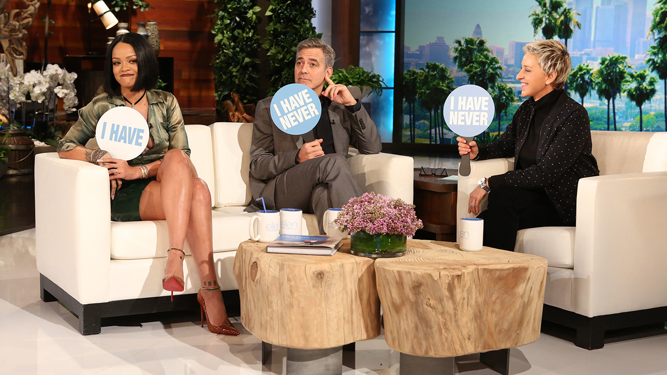 Rihanna and George Clooney on Ellen - H 2016