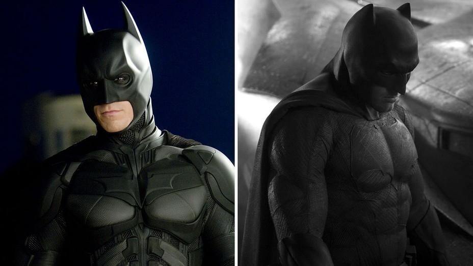 Christian Bale as Batman in 'The Dark Knight' and Ben Affleck as Batman in 'BvS' -H 2016