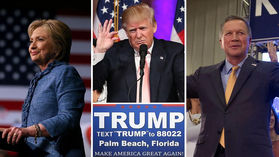 Hillary Clinton, Donald Trump and John Kasich Split - H 2016