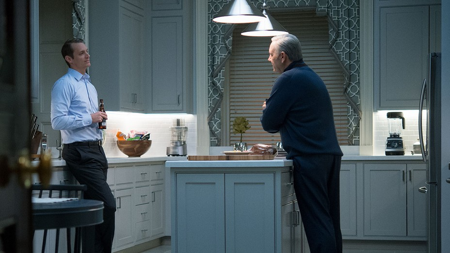 House of Cards still - Joel Kinnaman and Kevin Spacey - H 2016