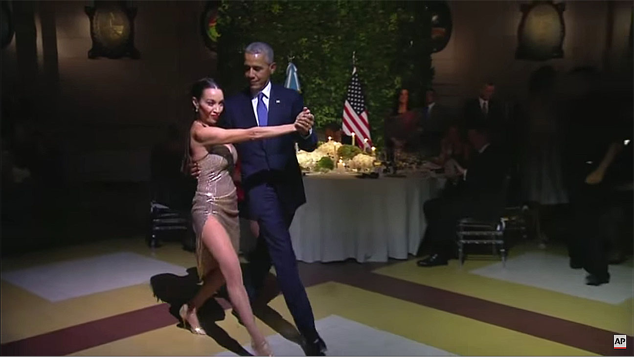 The Obamas Tango Dance at Argentine State Dinner -Screen shot - H 2016