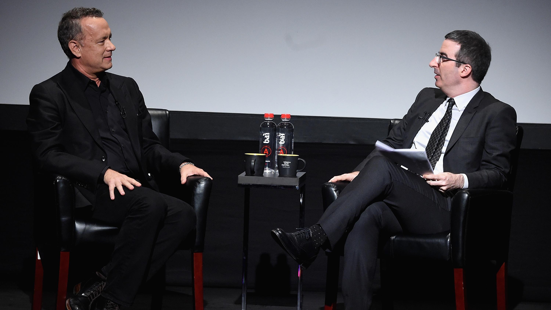 Tom Hanks and John Oliver at the Tribeca Film Festival - H Getty 2016