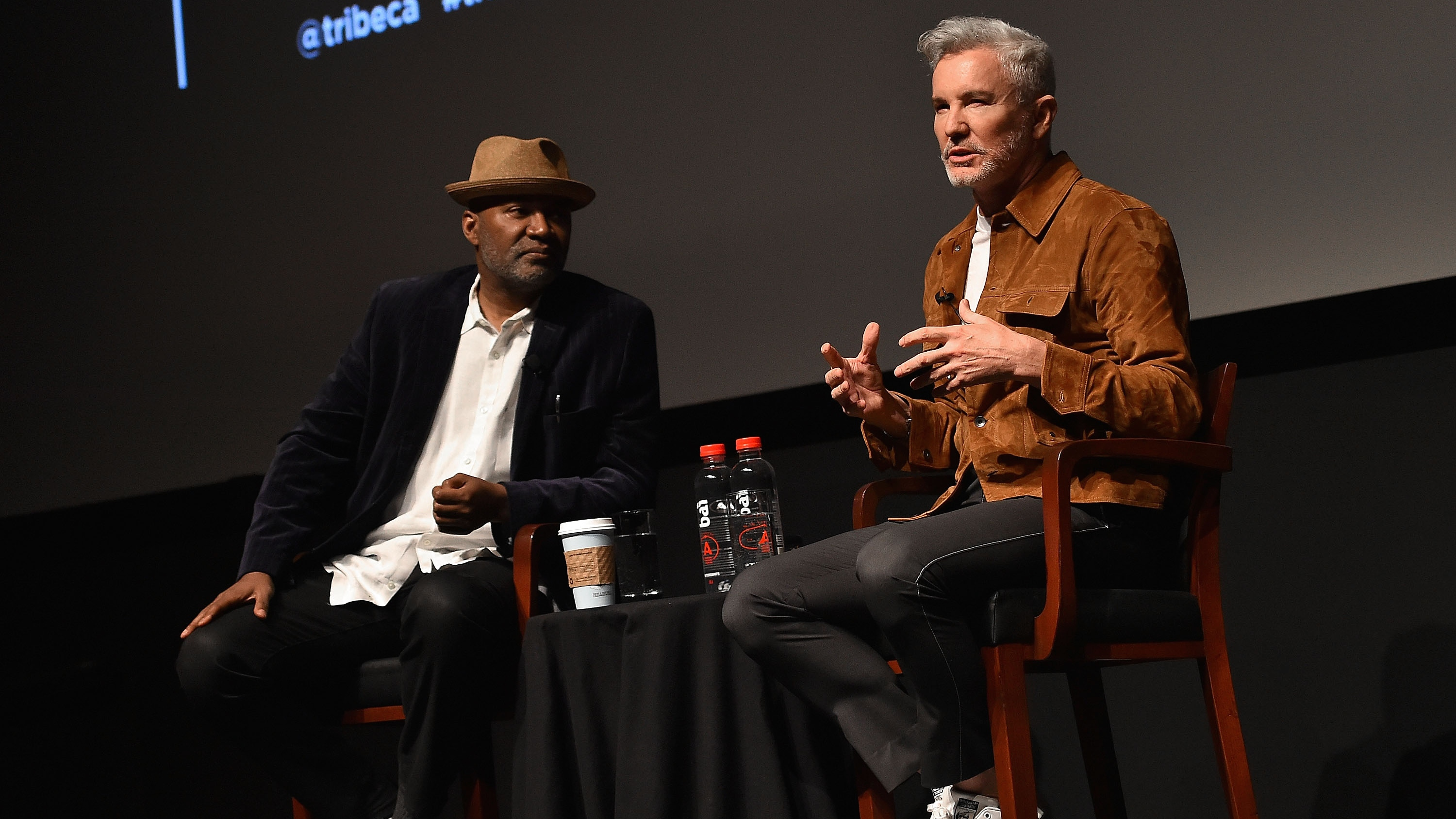 Baz Luhrmann and Nelson George at Tribeca - H Getty 2016