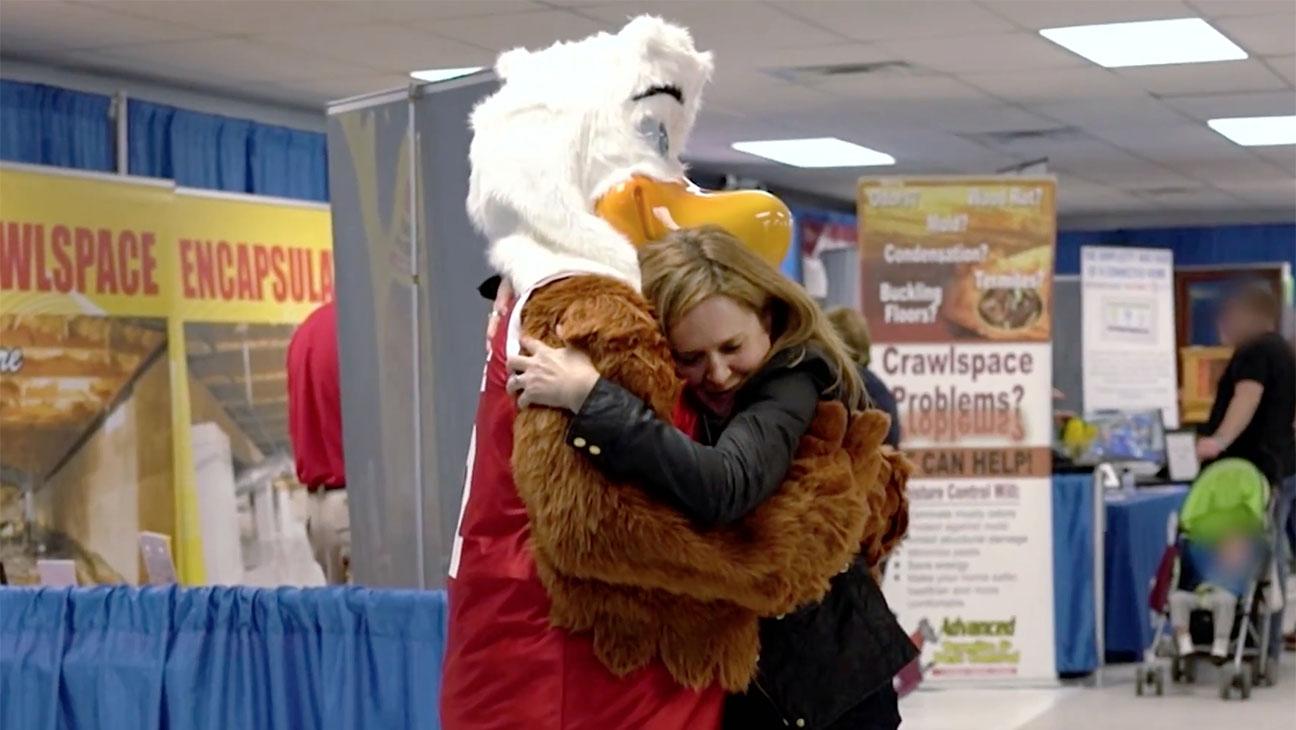 Samantha Bee hugging the NRA mascot -Screen Shot-H 2016