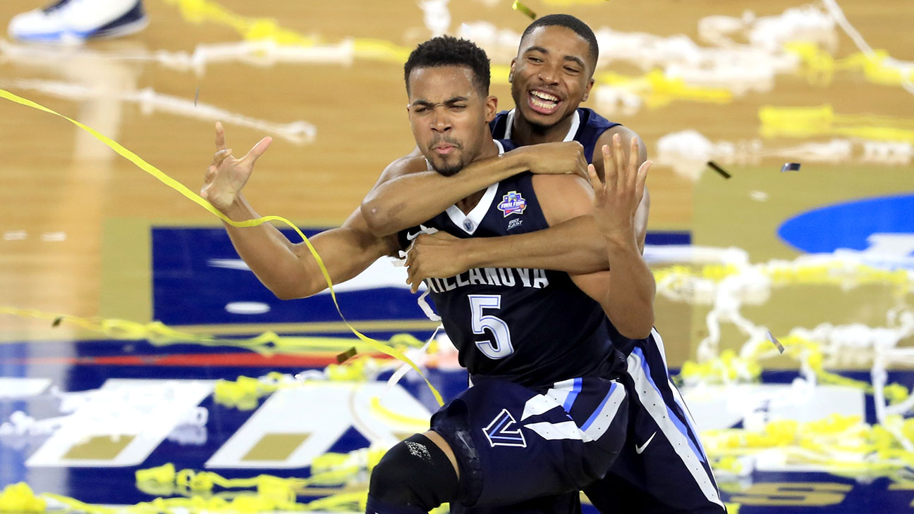 Phil Booth and Mikal Bridges of the Villanova celebrate win NCAA Men's Final Four- H 2016