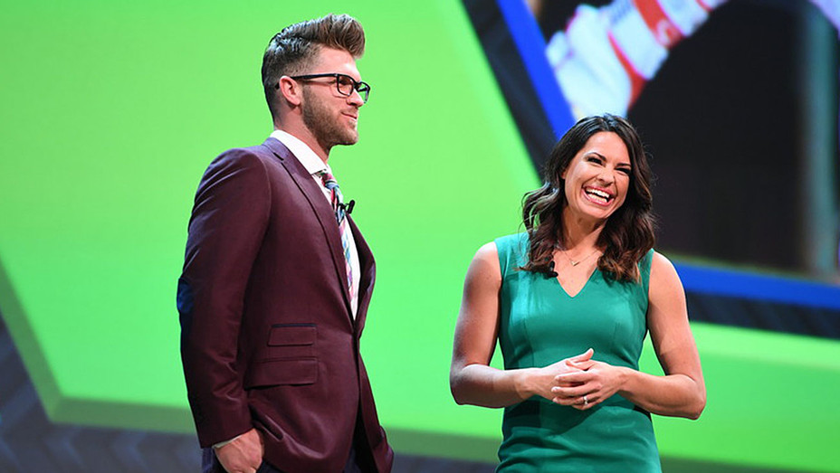 Bryce Harper and Jessica Mendoza during the 2016 ESPN Upfront event-H 2016