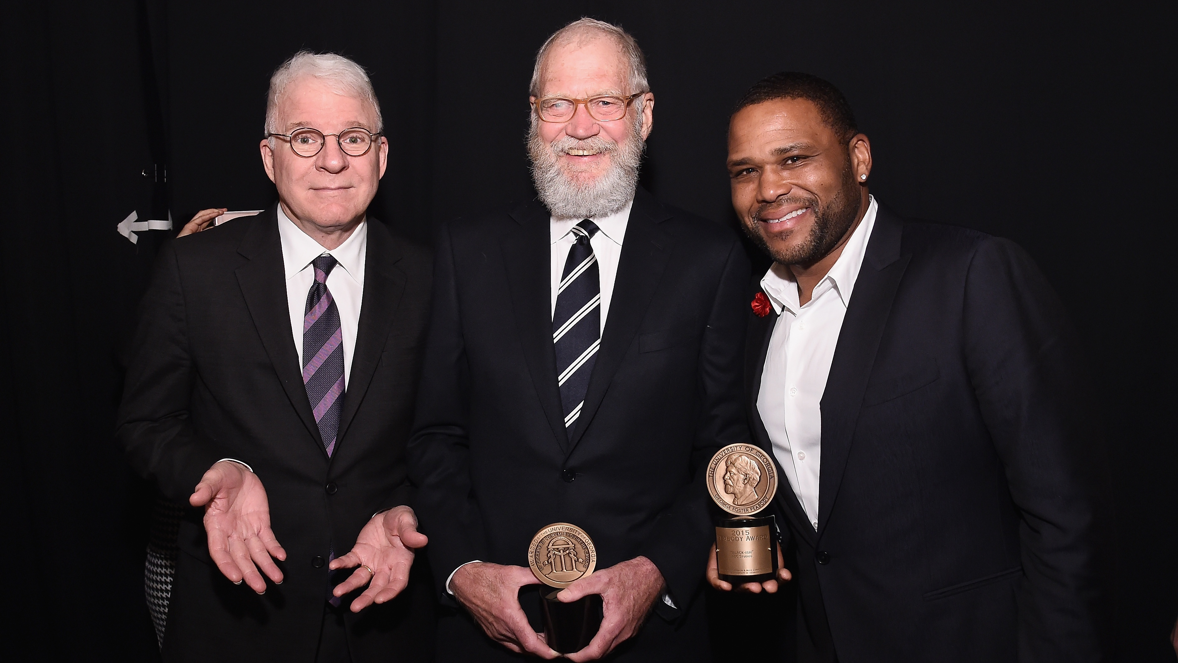 Steve Martin, David Letterman and Anthony Anderson at the Peabody Awards - H Getty 2016