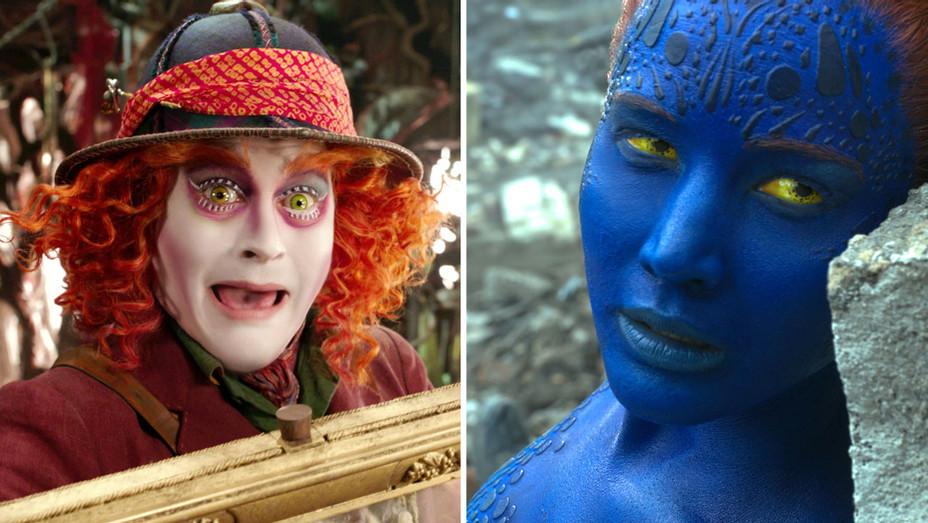 Alice Through the Looking Glass X-Men Split-Johnny Depp Jennifer Lawrence H-2016