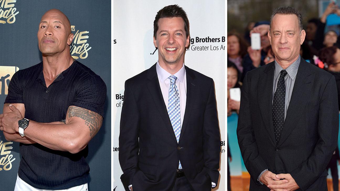 Dwayne Johnson, Sean Hayes and Tom Hanks_Split - Getty - H 2016