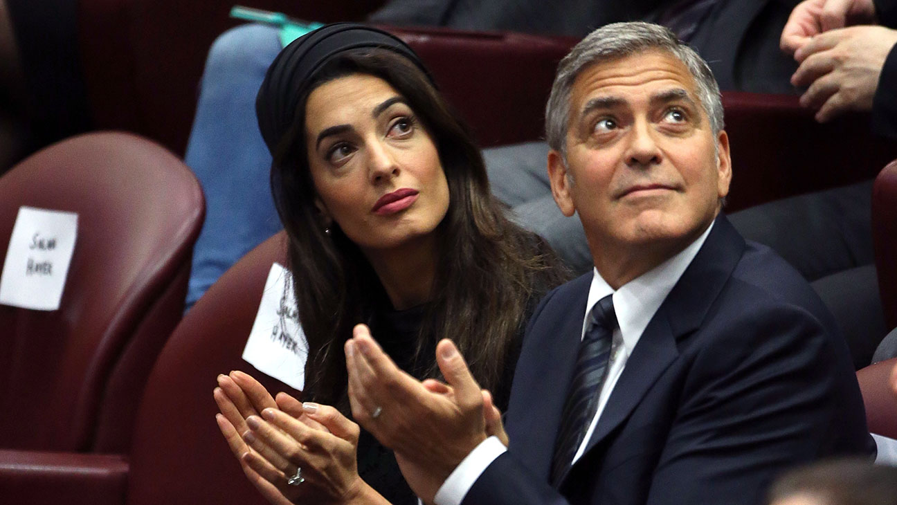George and Amal Clooney meet the Pope - Getty - H 2016