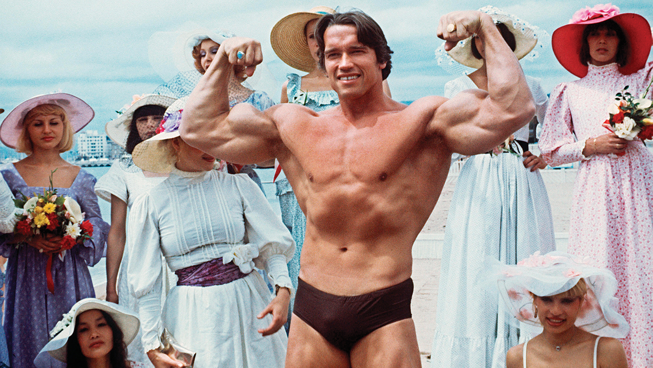 Arnold Schwarzenegger Did Pec Jiggles on the Beach - H 2011