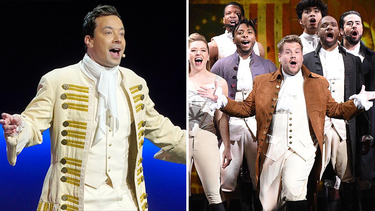 Jimmy Fallon and James Corden -Hamilton garb-Split-H 2016