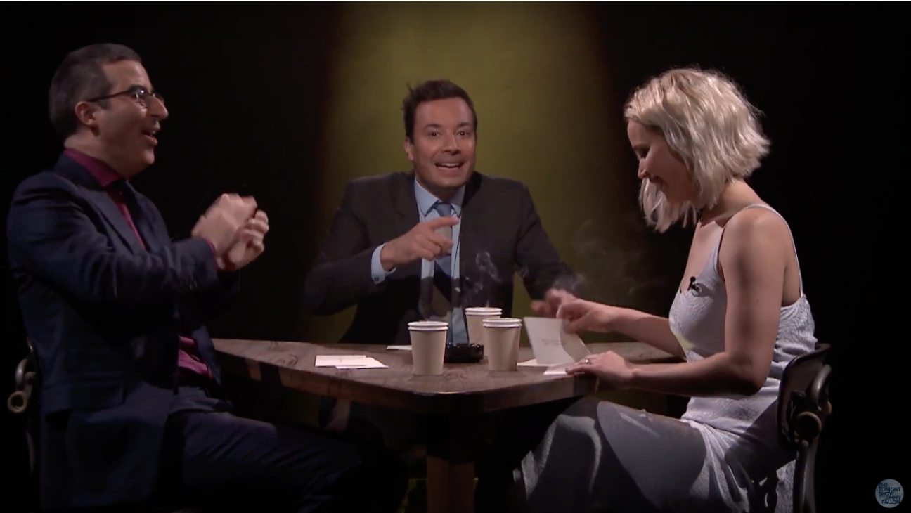 Jennifer Lawrence, John Oliver and Jimmy Fallon in True Confessions — h 2016