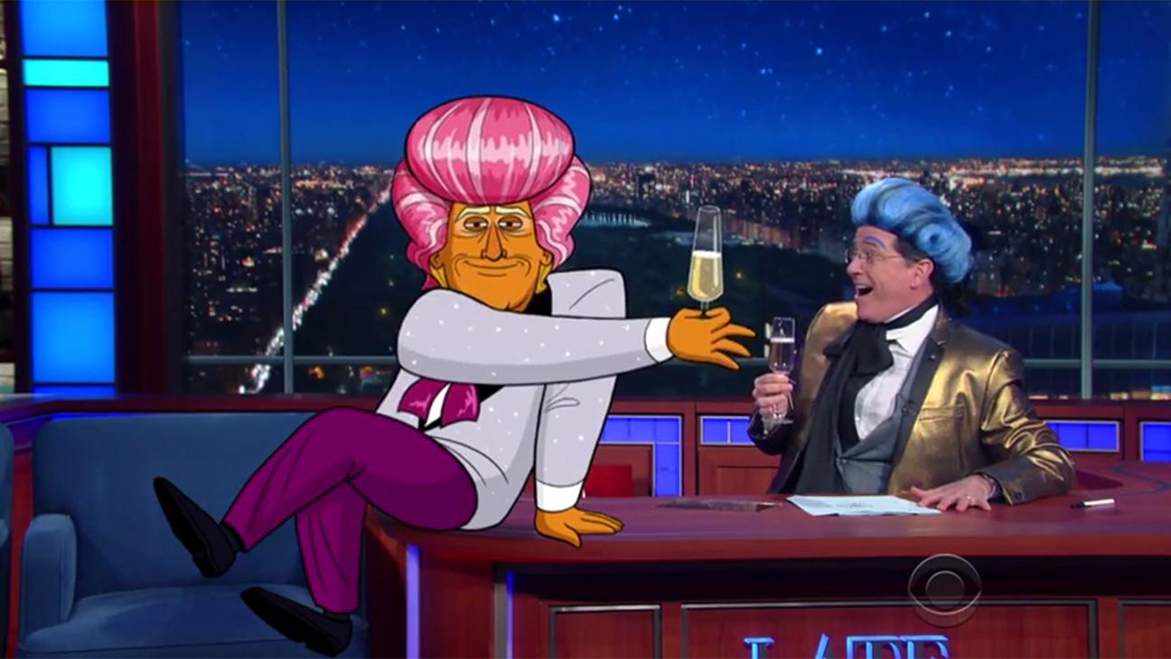 Cartoon Trump and Colbert - H 2016