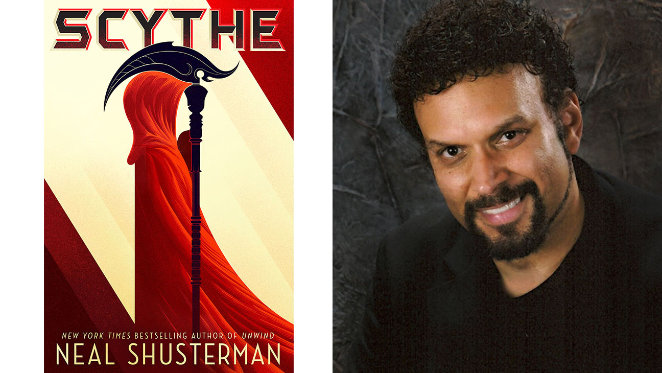 Scythe Book Cover split with Neal Shusterman - H 2016
