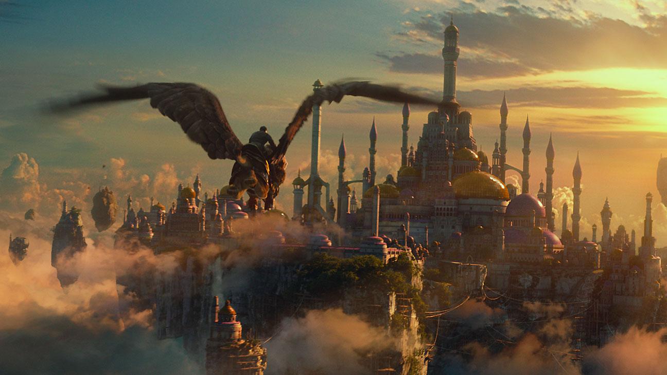 Warcraft still 3- Khadgar (BEN SCHNETZER) rides a gryphon -H 2016