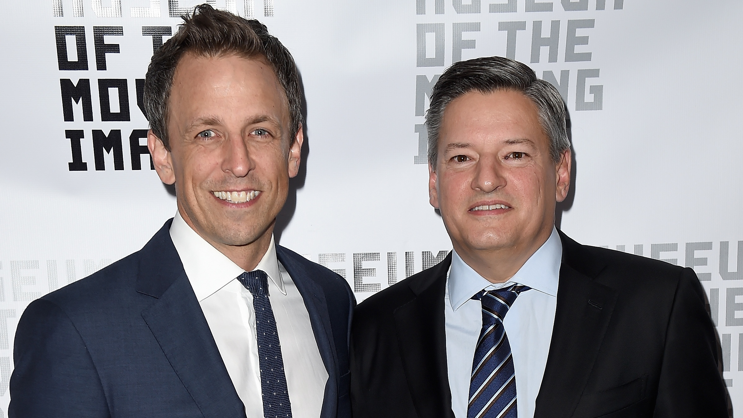 Seth Meyers and Ted Sarandos - H Getty 2016