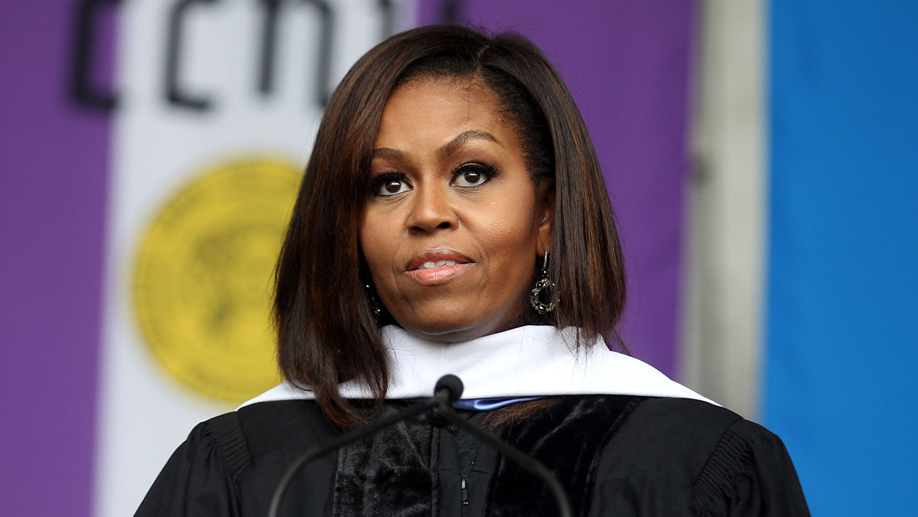 michelle obama from City College of New York commencement - Getty - H 2016