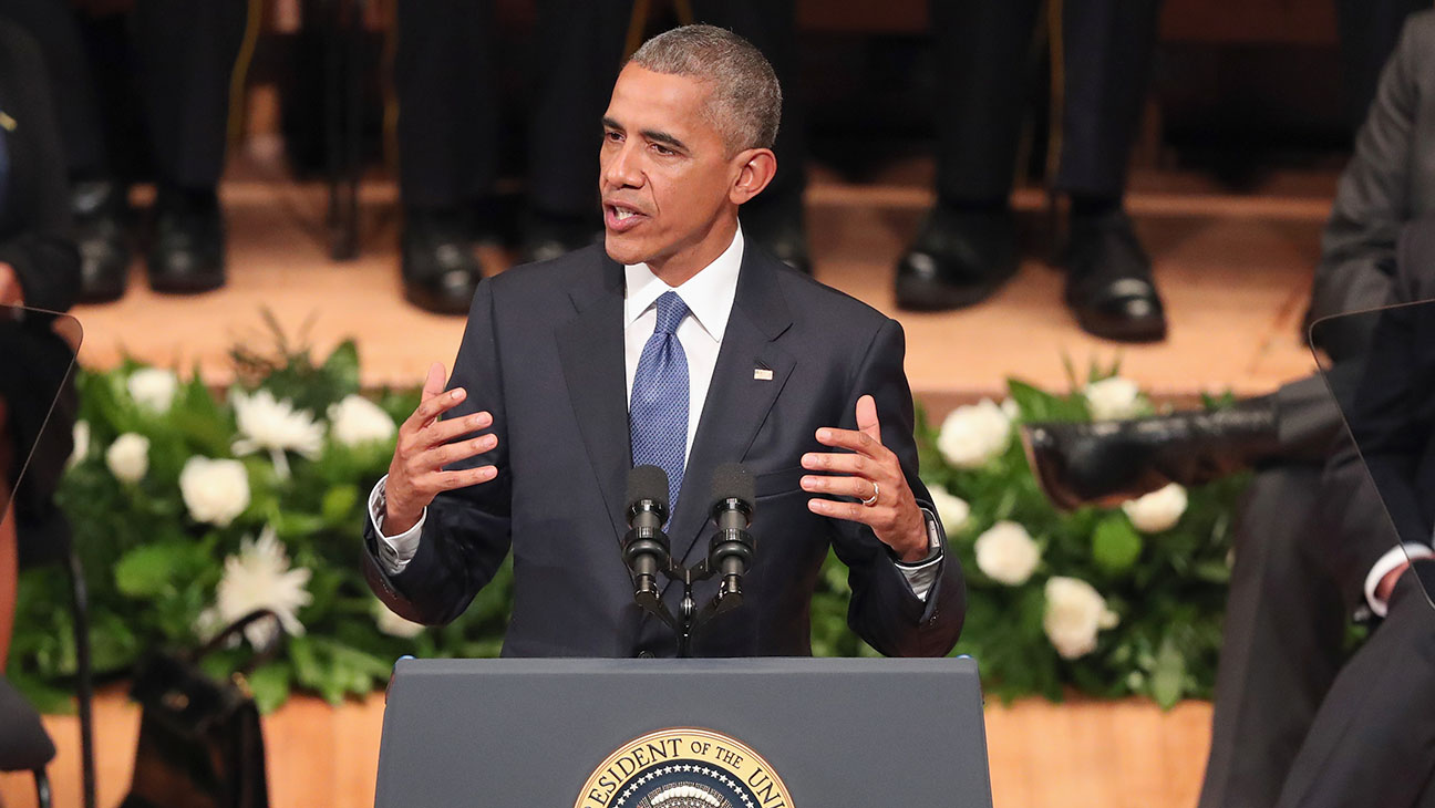 Barack Obama During Interfaith Memorial For Dallas Victims H 2016