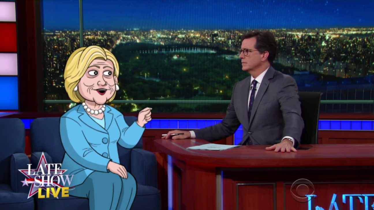 Cartoon Hillary on Late Show with Colbert - H 2016