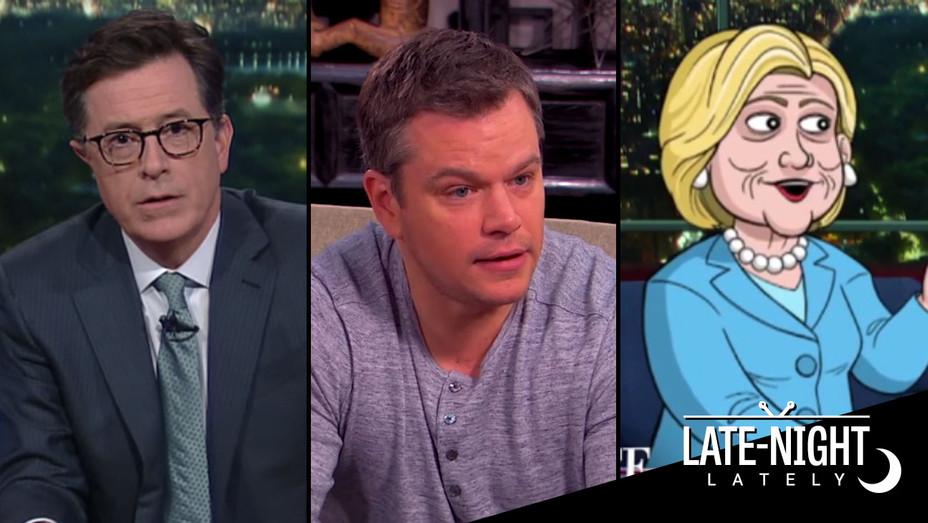 Colbert Matt Damon Cartoon Clinton Late Night Split H 2016