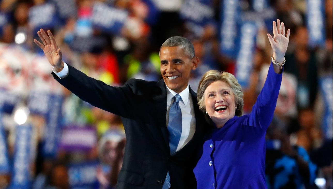 President Obama, Hillary Clinton at DNC 2 - Getty - H 2016