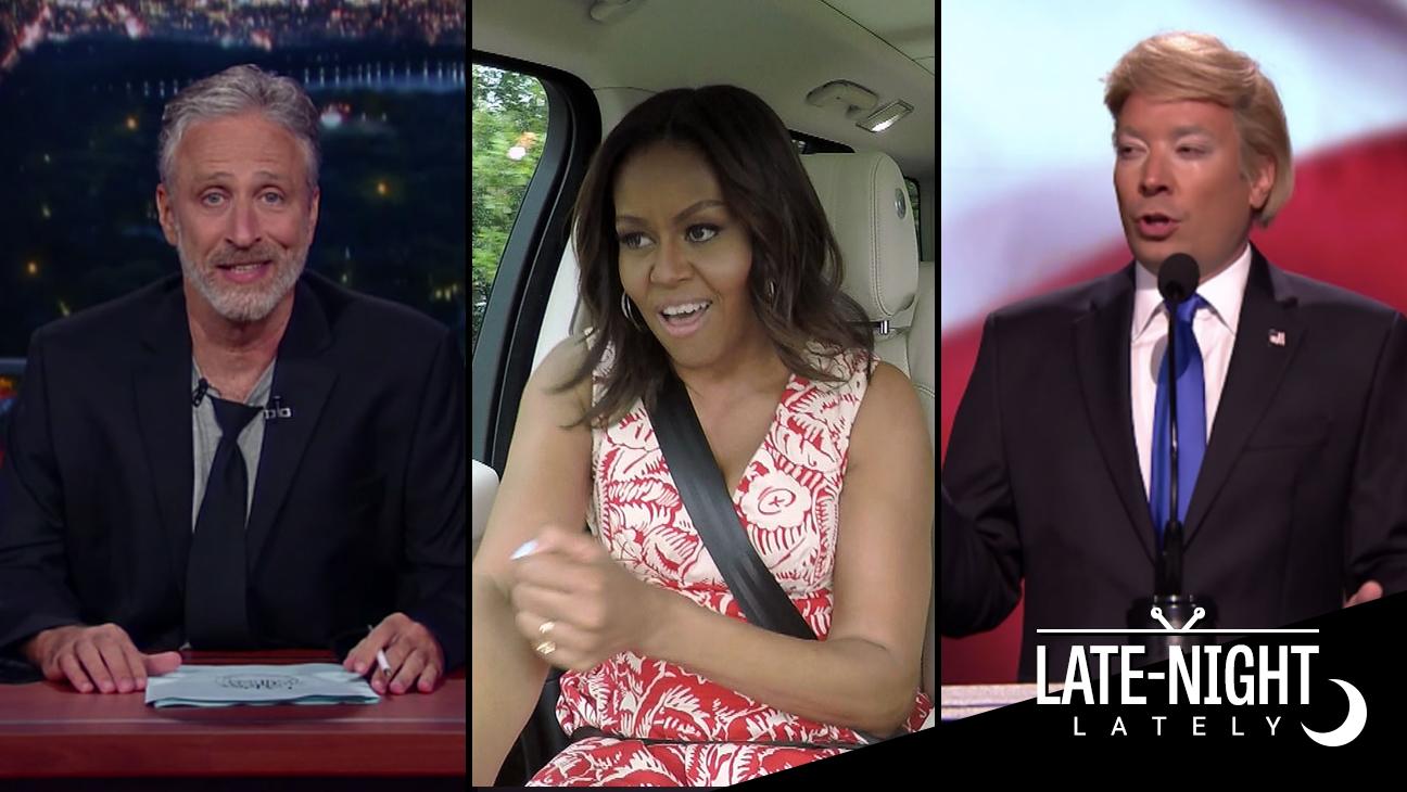 Jon Stewart Michelle Obama Jimmy Fallon Late Night - H 2016