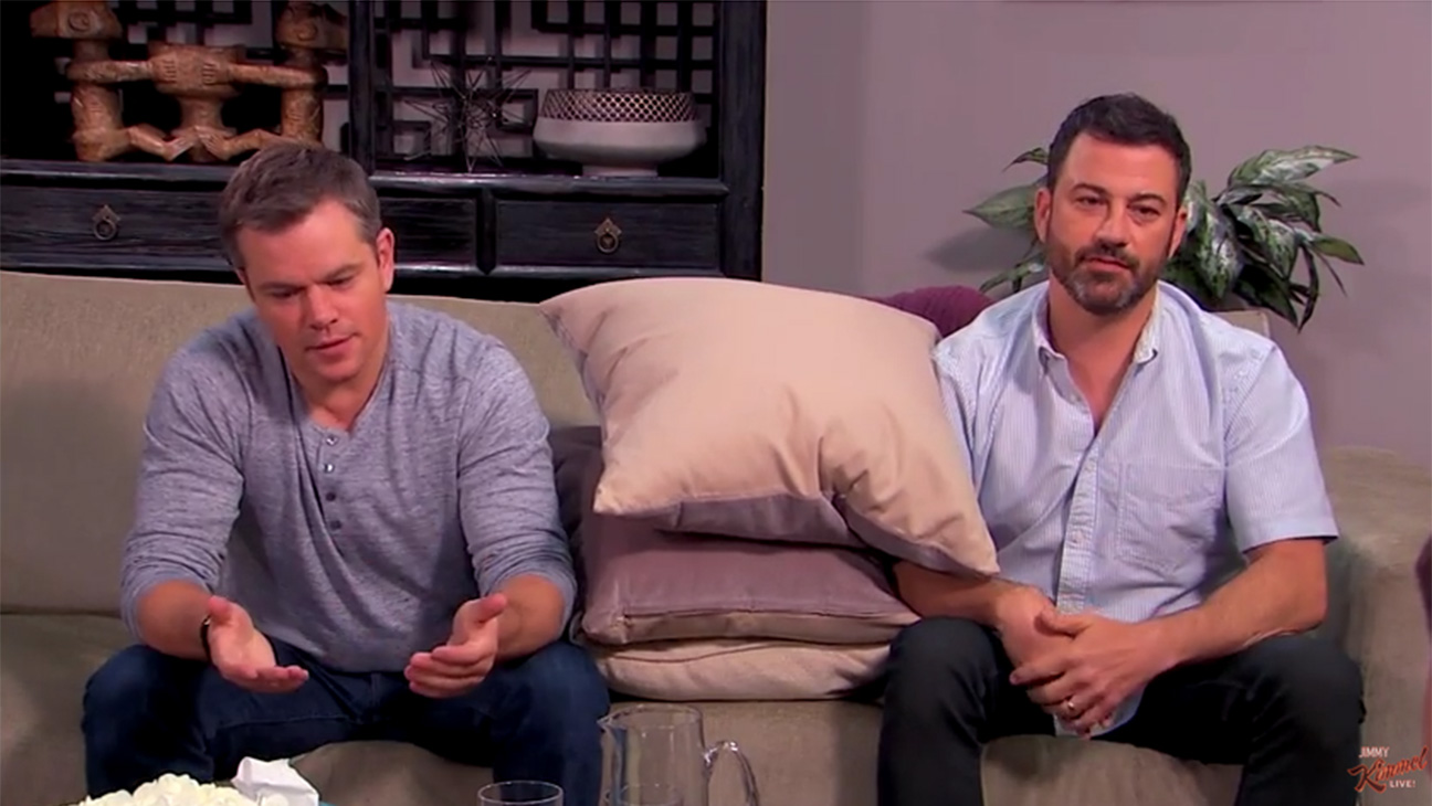 Matt Damon Jimmy Kimmel Couples Counseling Screen Grab - H 2016