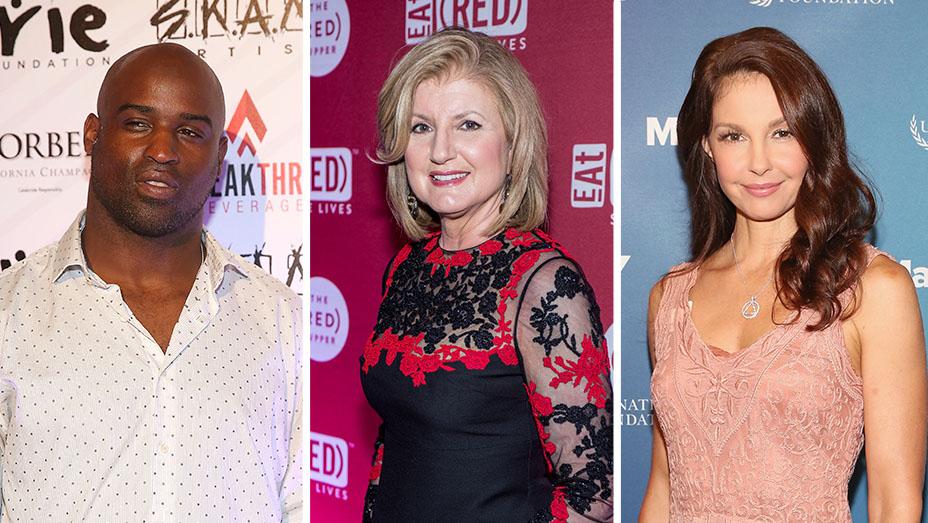 Ricky Williams, Ariana Huffington and Ashley Judd_Split - Getty - H 2016