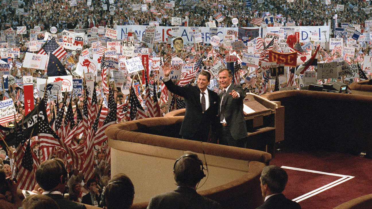 Ronald Reagan and running mate George Bush  - Bettmann Archive-One time use-H 2016