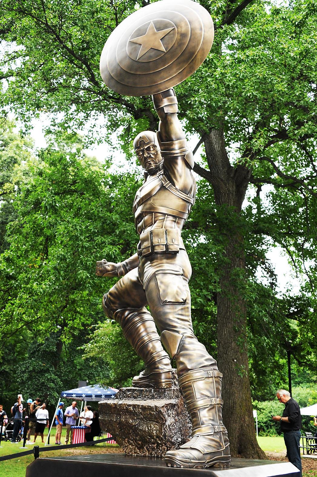 Bronze statue of superhero Captain America-Prospect Park-Getty-H 2016
