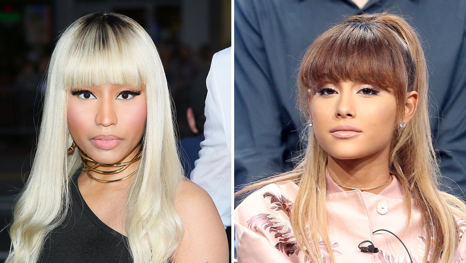 Nicki Minaj and Ariana Grande_Split - Getty - H 2016