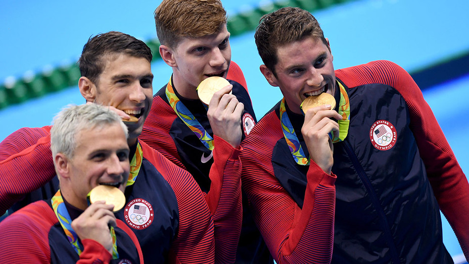 Olympic Games Medal Presentation Ryan Lochte Michael Phelps Townley Haas Conor Dwyer H 2016