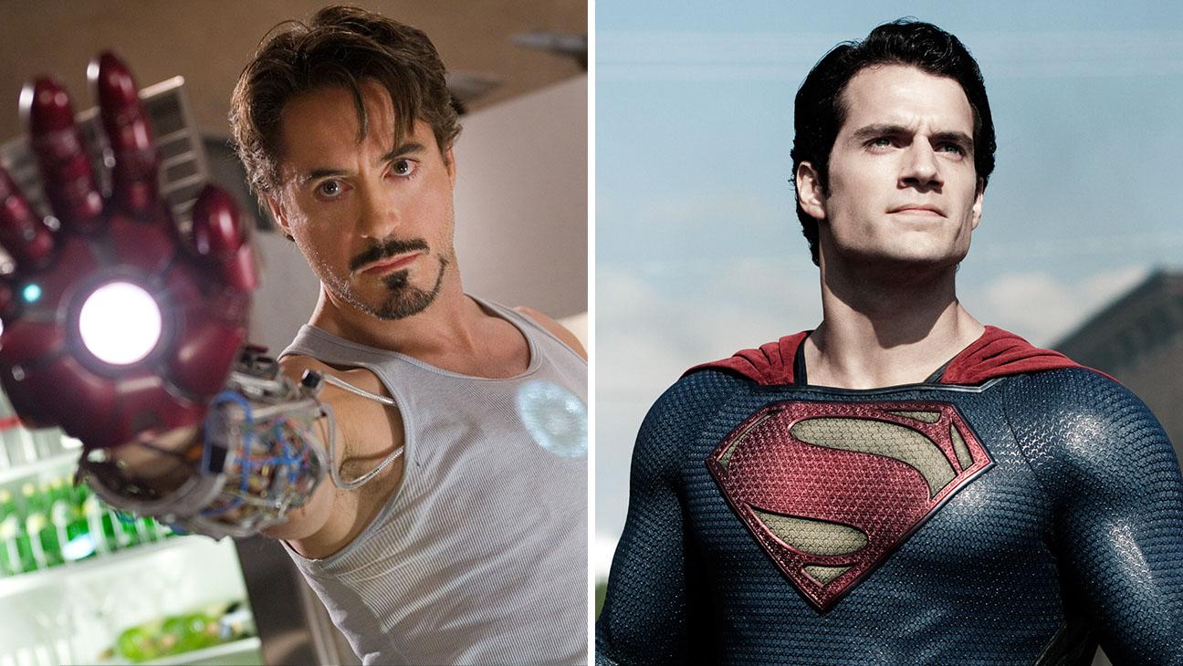 Robert Downey Jr. in Iron Man 2008 and Henry Cavill in Man of Steel 2013-Split-photofest-H 2016