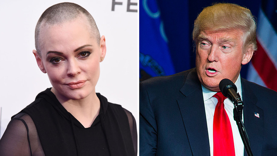 Rose McGowan and Donald Trump-Split- Getty-H 2016