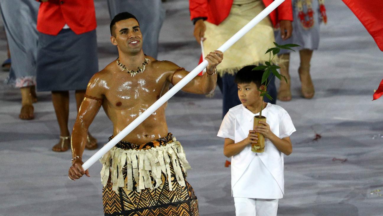 Rio opening ceremony Tonga flag bearer Getty 2016 - H