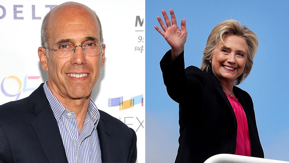 Jeffrey Katzenberg Hillary Clinton Split - Getty - H 2016