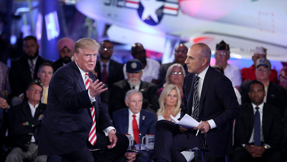 Matt Lauer with Trump at the Commander-in-Chief Forum -Publicity - H 2016